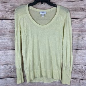 Loft Baby Yellow Linen V-Neck Sweater Size S